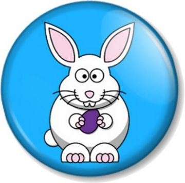 Easter Bunny Pinback Button Badge Eggs Sunday Bank Holiday Kids Fun Happy